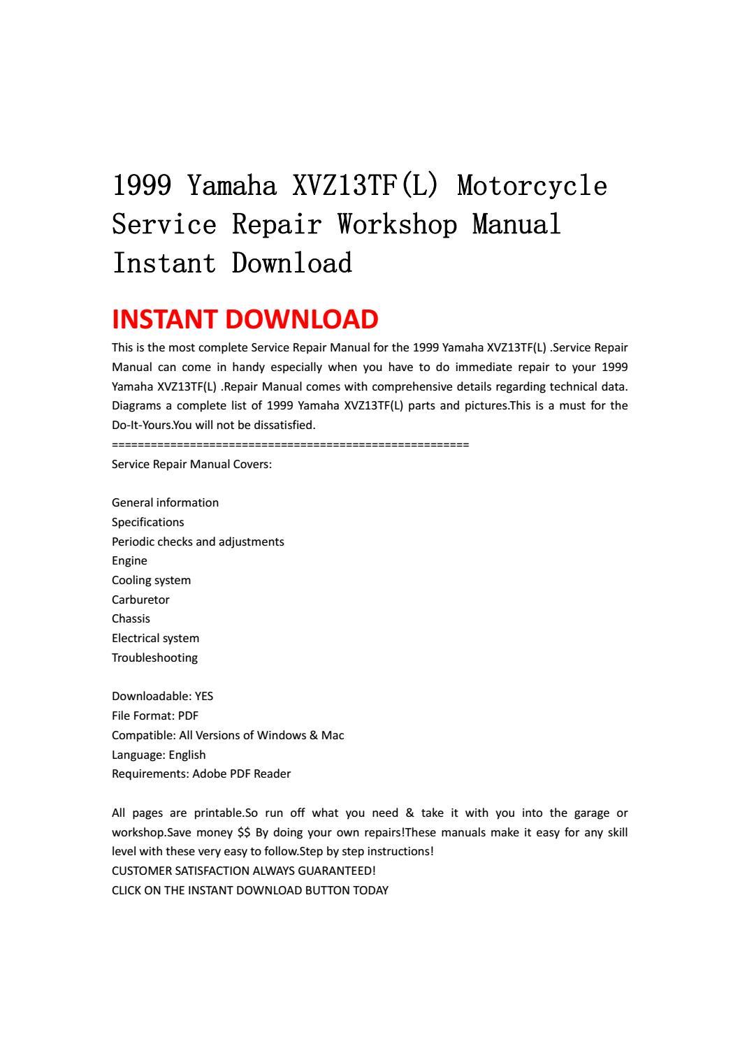 1999 yamaha xvz13tf(l) motorcycle service repair workshop manual instant  download by ksjefnsenfn - issuu
