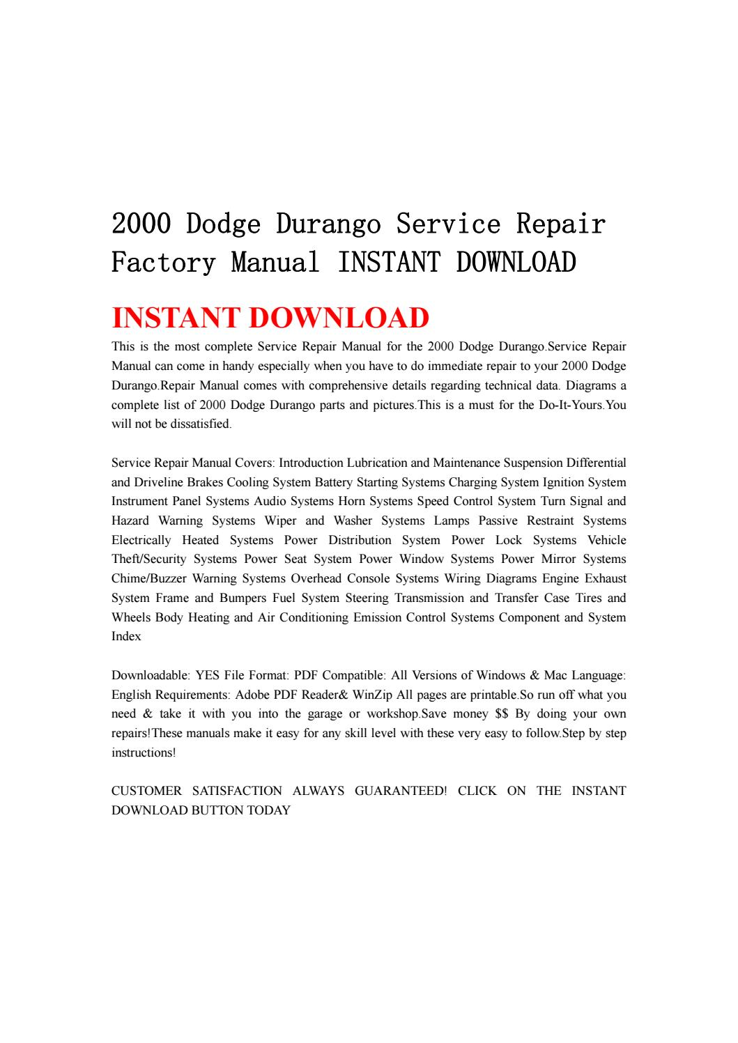 2000 dodge durango service repair factory manual instant download by  ksjefnsenfn - issuu
