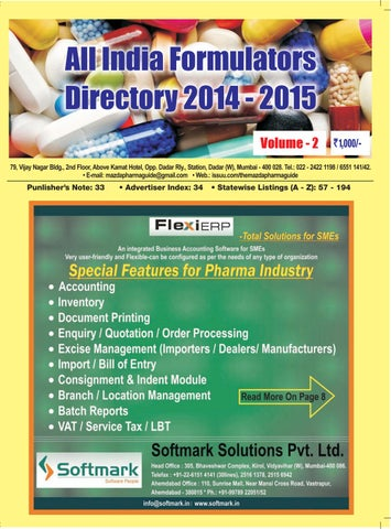All India Formulators Directory 2014 - 15 ( Volume - 2 ) by The