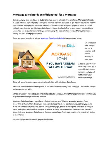 mortgage calculator is an efficient tool for a mortgage by money