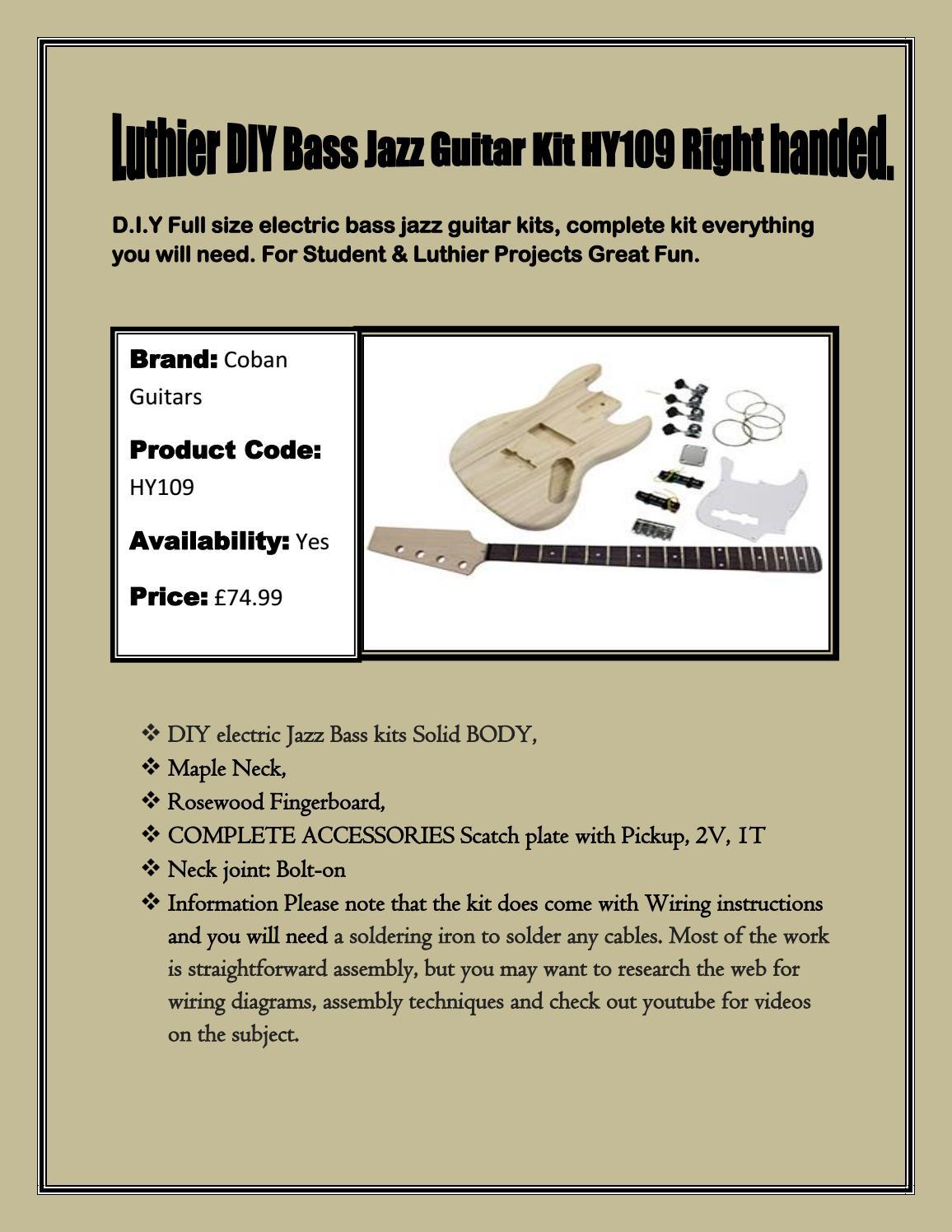 Buy Online Guitar Diy Kits At Ukmusicsupplies By Uk Music Supplies Kit Wiring Diagram Issuu