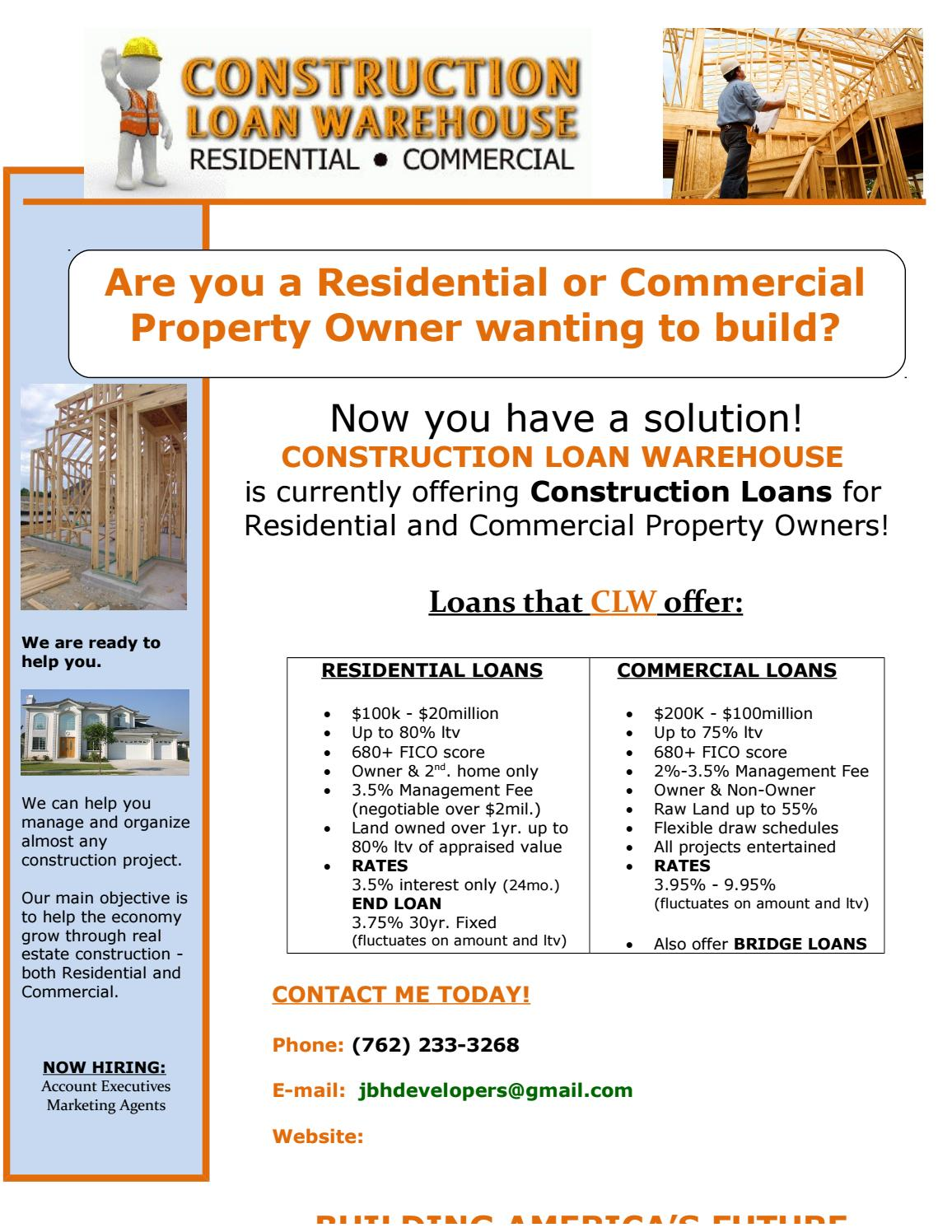 Construction loan flyer 1 1 by jbh financial brokerage for Interest only construction loan