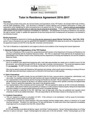 Tir Agreement 2016 17 By Seton Hall Hrl Issuu