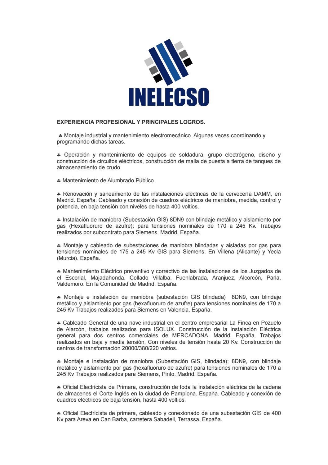 Inelecso Hoja de Vida by Revista Digital - issuu