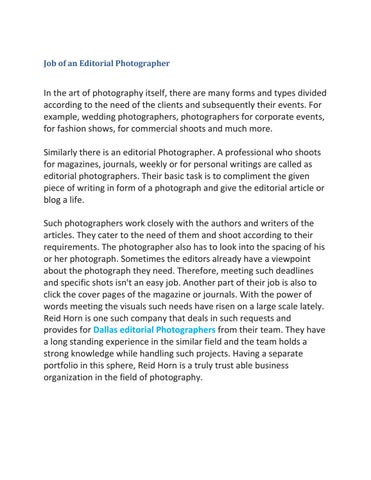 Job of an Editorial Photographer by Tom Cook - issuu