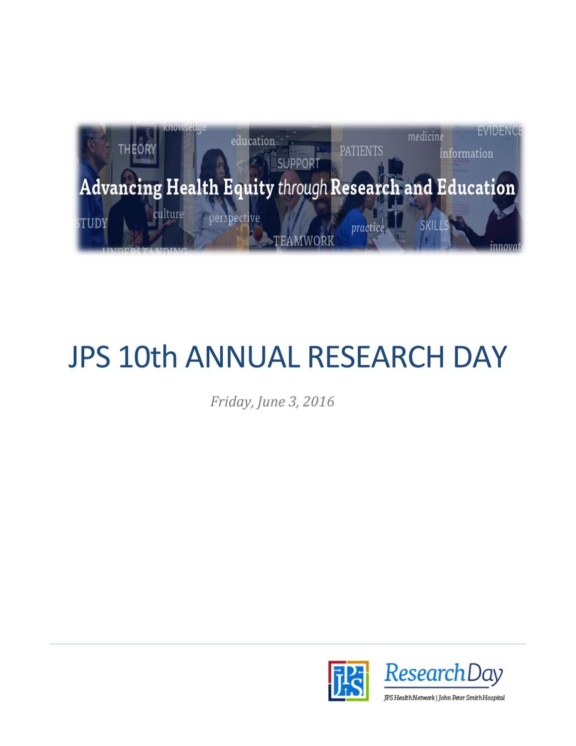 JPS Research Day 2016 Program Booklet by JPS Health Network - issuu
