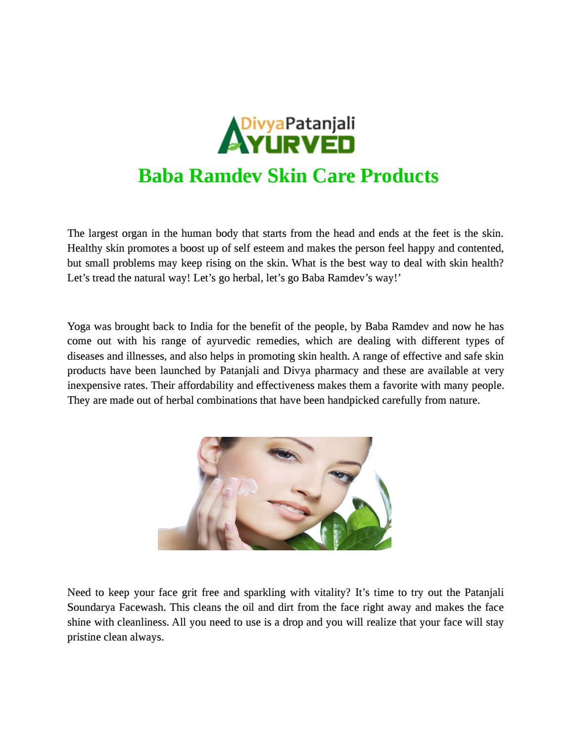 Baba ramdev skin care products by divyapatanjaliayurved - issuu