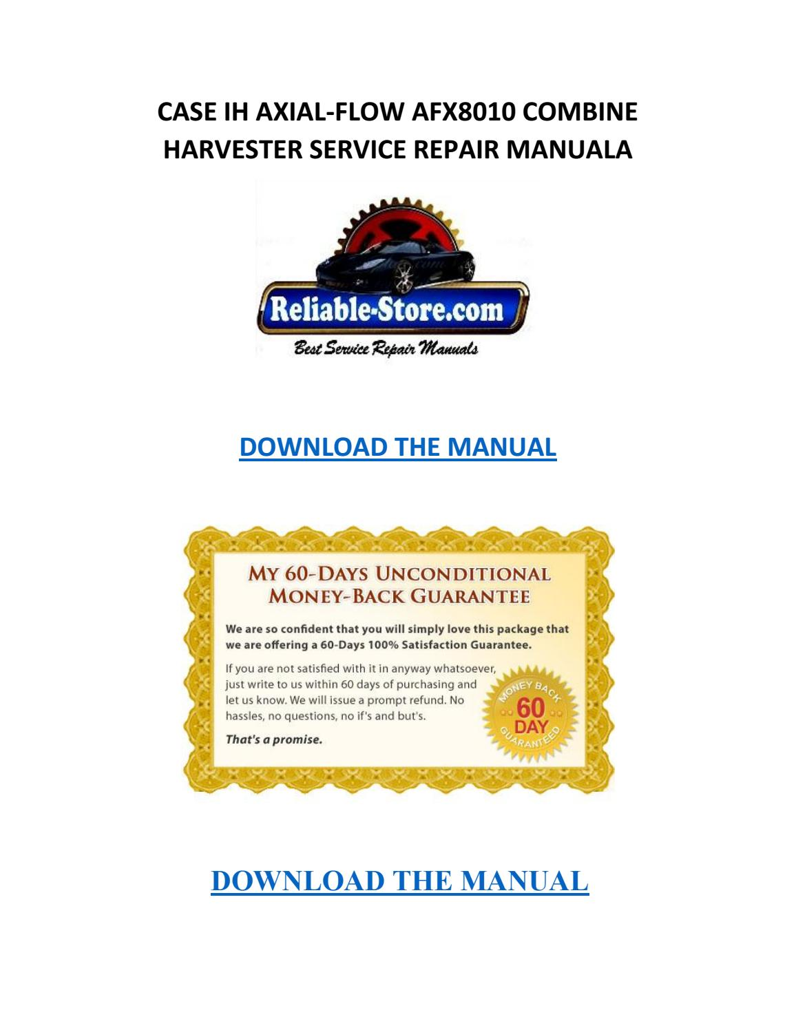 Case ih axial flow afx8010 combine harvester service repair manual by  Willie Blakely - issuu