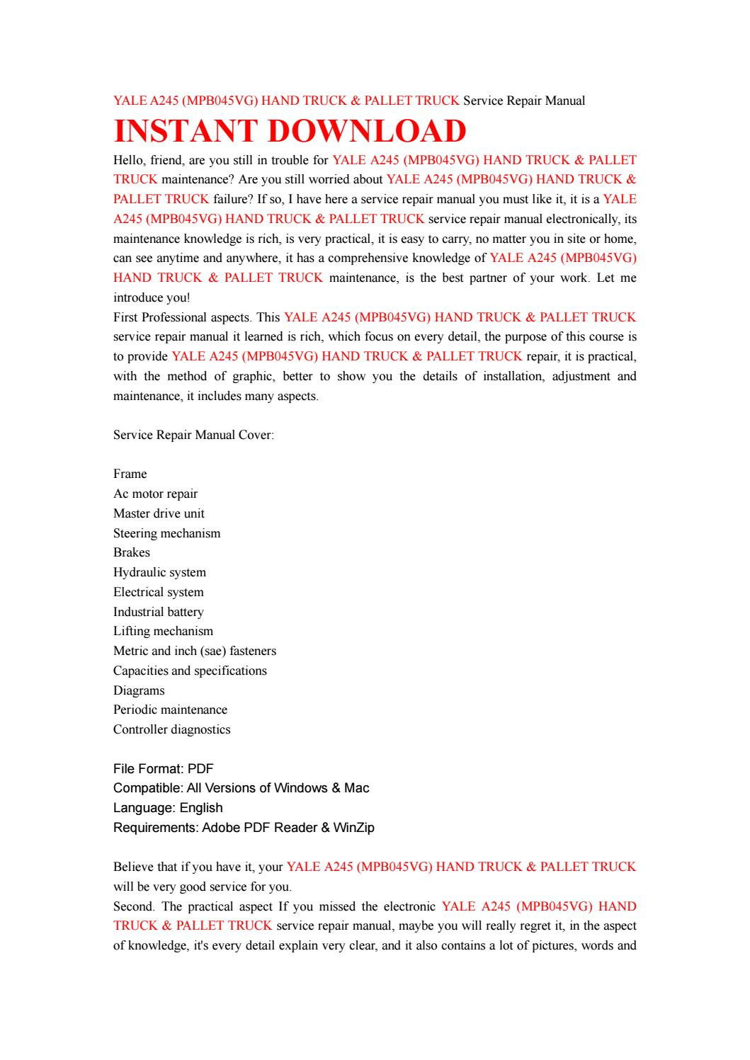 Yale a245 (mpb045vg) hand truck & pallet truck service repair manual by  jsjefnhse76 - issuu
