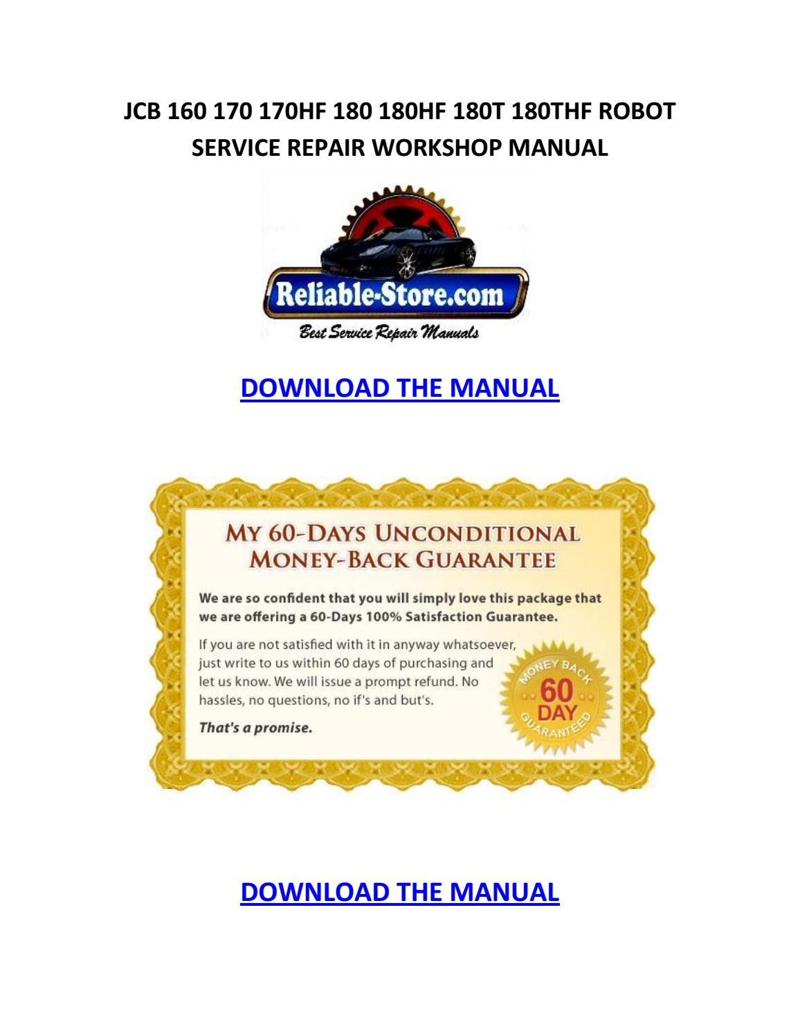 Jcb 150 165 165hf robot service repair manual download by Willie Blakely -  issuu