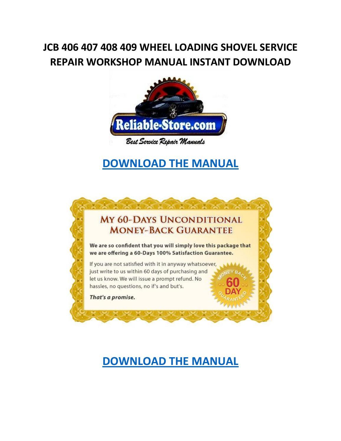 Jcb 406 407 408 409 wheel loading shovel service repair workshop manual  instant download by Willie Blakely - issuu