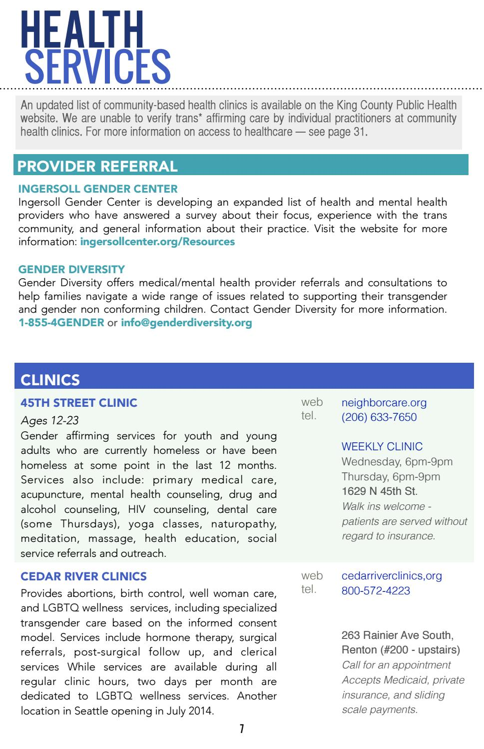2014 King County Trans Resource Referral Guide A Community
