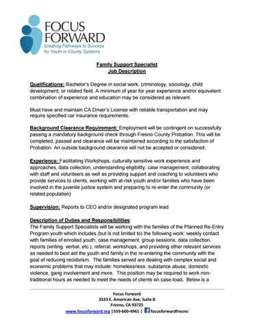 PrepFamilySupportSpecialistJobDescription By Focus Foward  Issuu