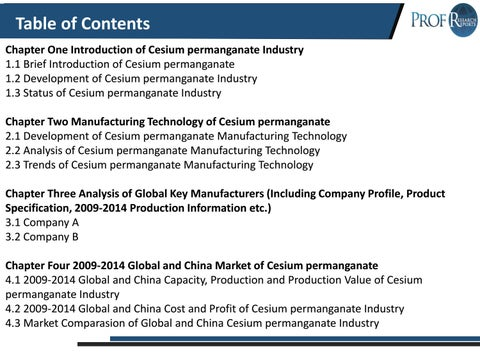 Global and Chinese Cesium permanganate Market Share, Growth