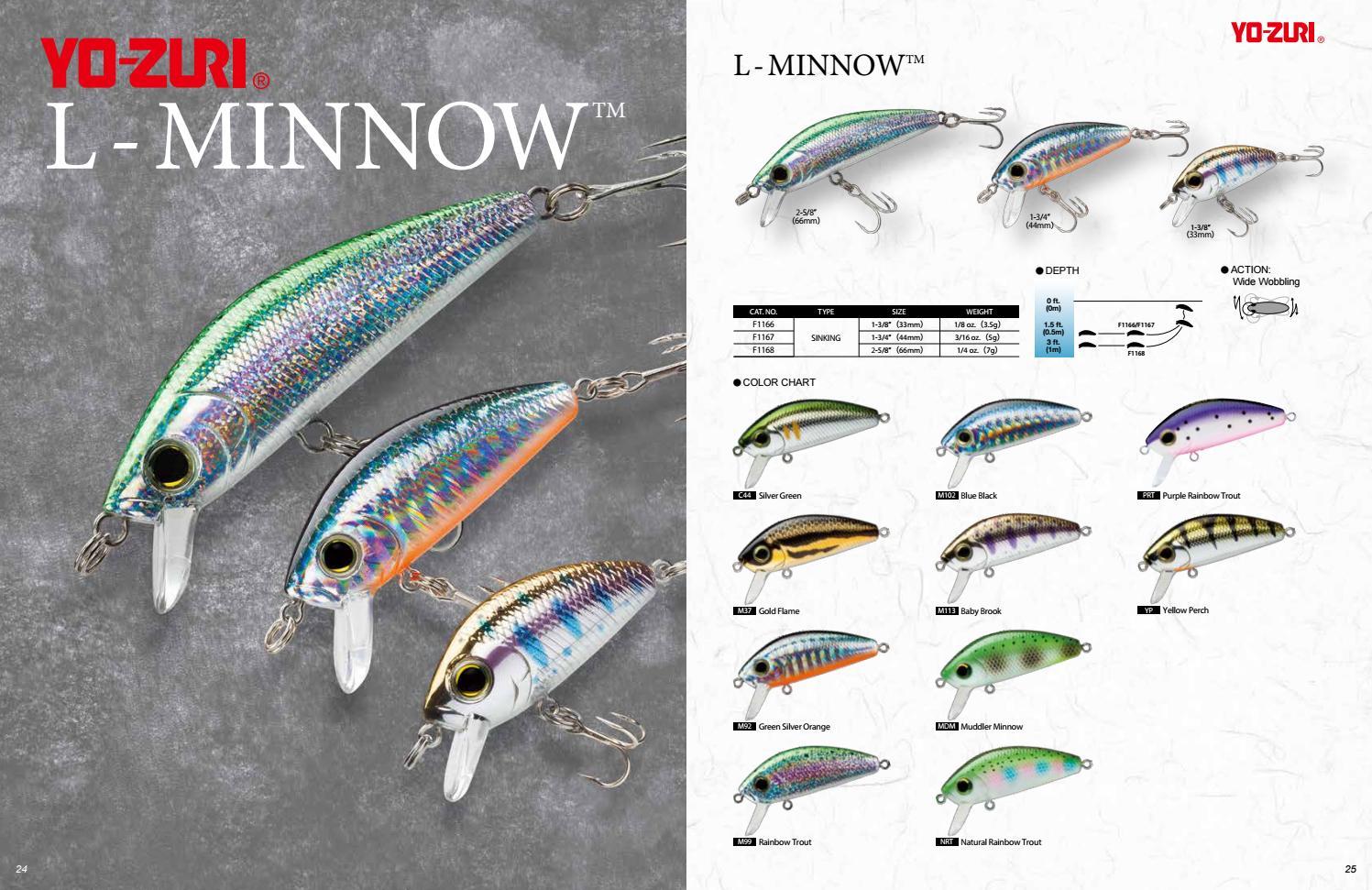 """Yo-Zuri L-Minnow 1 3//4/"""" F1167-M99 Rainbow Trout 3//16 oz Lure"""