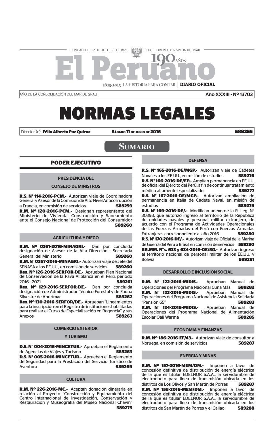 Normas Legales 11 06 2016 by Gaceta Juridica - issuu