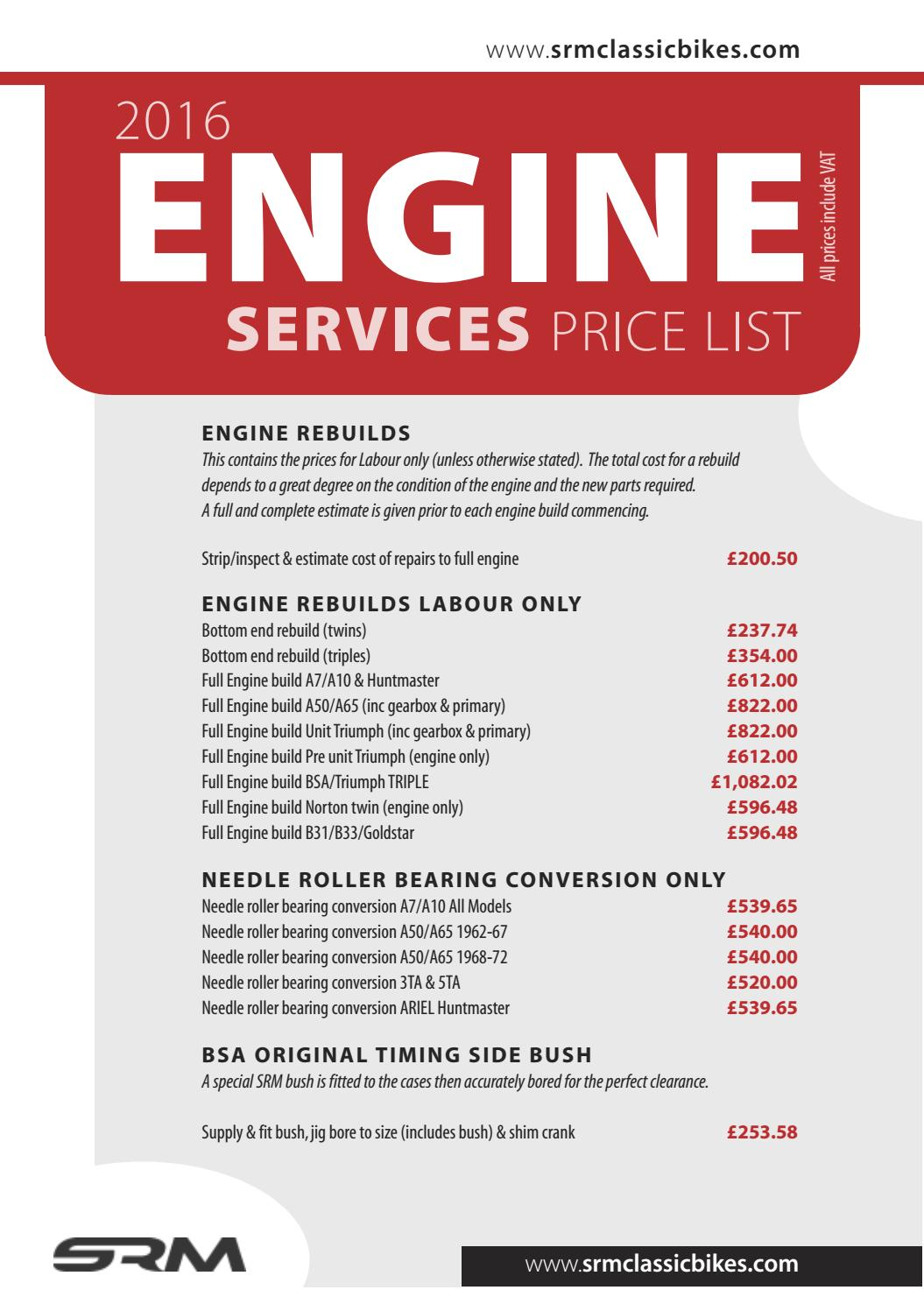 Srm Engine Services Price List By Srm Classic Bikes Issuu