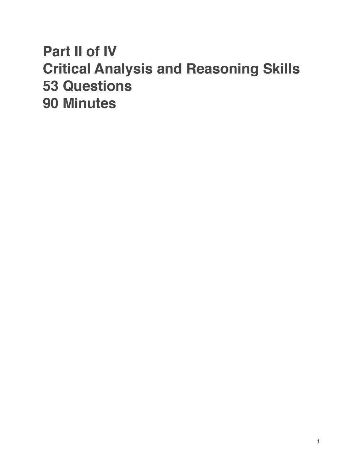 Free Practice Mcat 2 Section 2 Critical Reasoning And Analysis