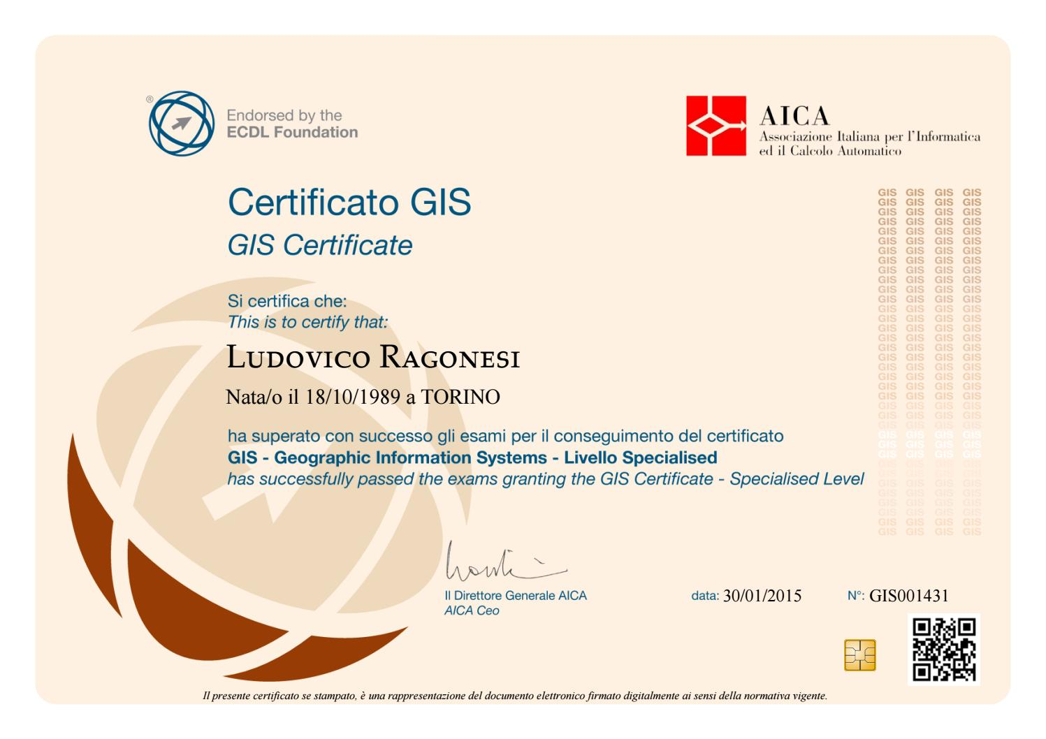 Gis Certificate Specialised Level By Ludovico Ragonesi Issuu