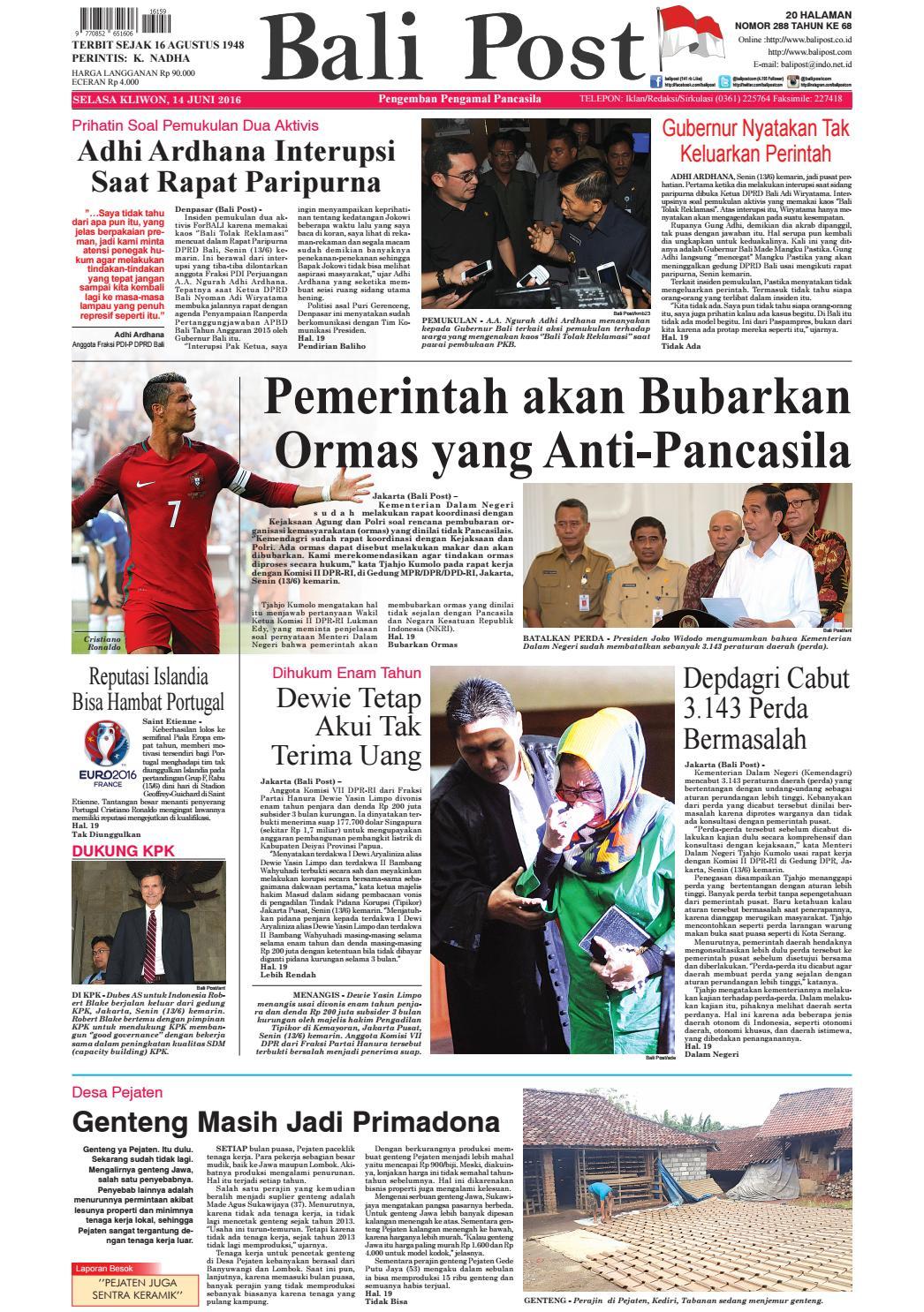 Edisi 14 Juni 2016 Balipostcom By E Paper Kmb Issuu Produk Ukm Bumn Tenun Pagatan Atasan Wanita 4