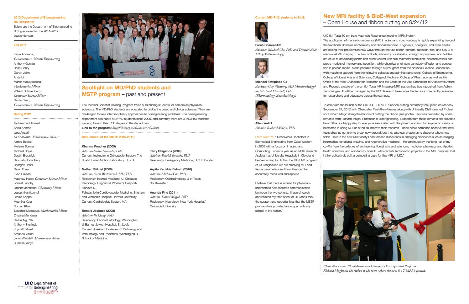UIC Bioengineering Fall 2012 Newsletter by UIC College of