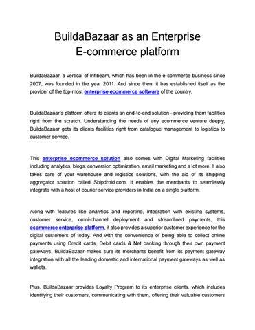 BuildaBazaar as an Enterprise E-commerce platform by Malvi
