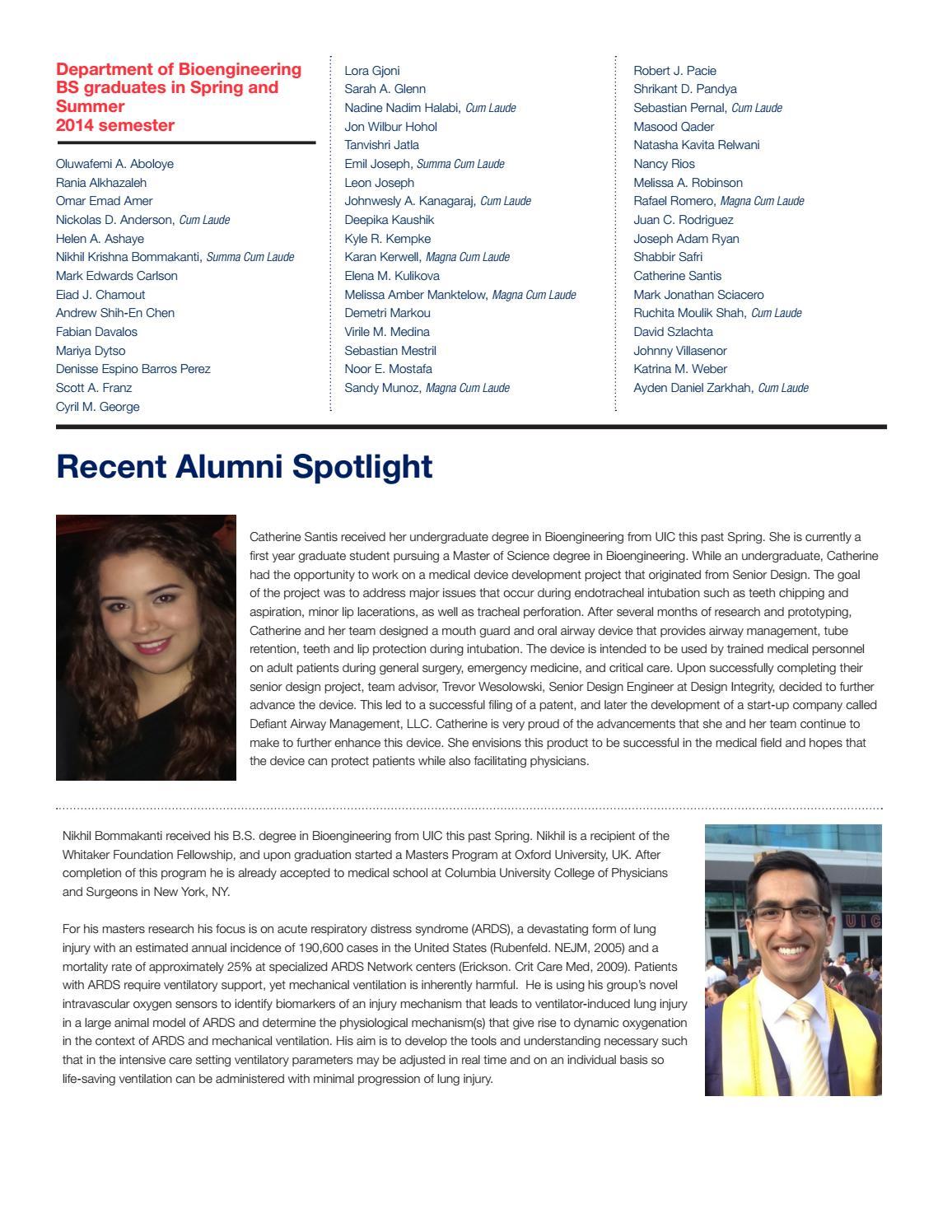 UIC Bioengineering Fall 2014 Newsletter by UIC College of