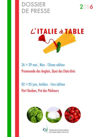 Italie table 2016 by chambre de commerce italienne de - Chambre de commerce italienne de nice ...