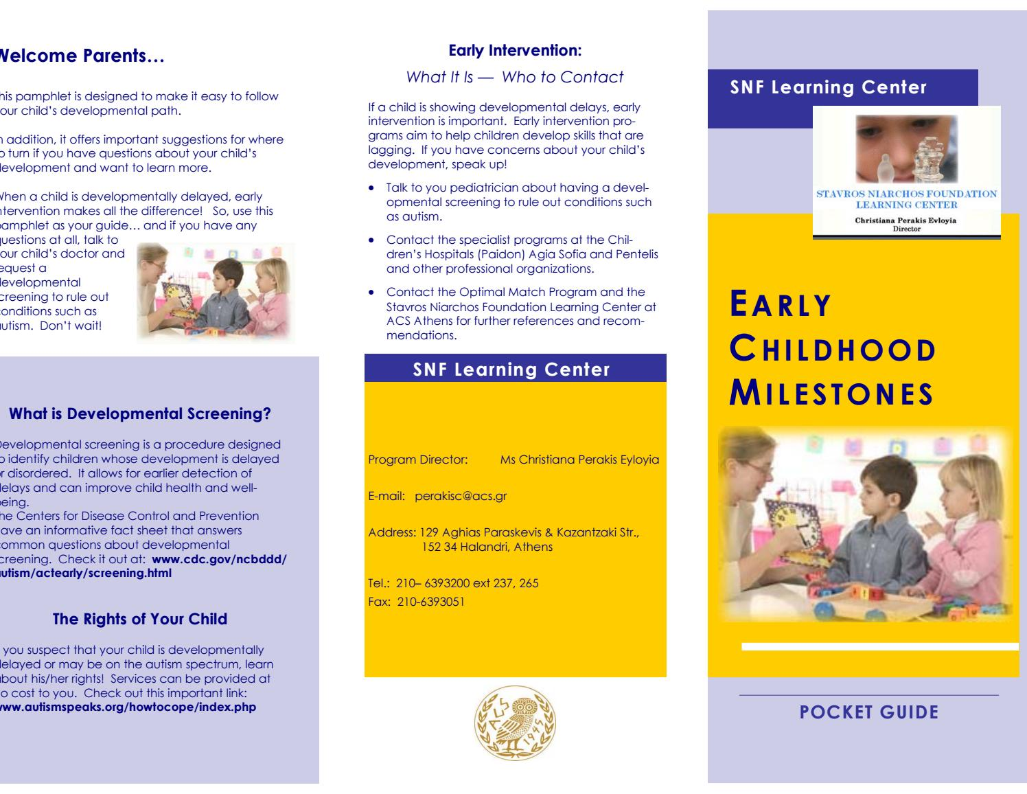 Early Childhood Milestone Map By Acs Athens Issuu