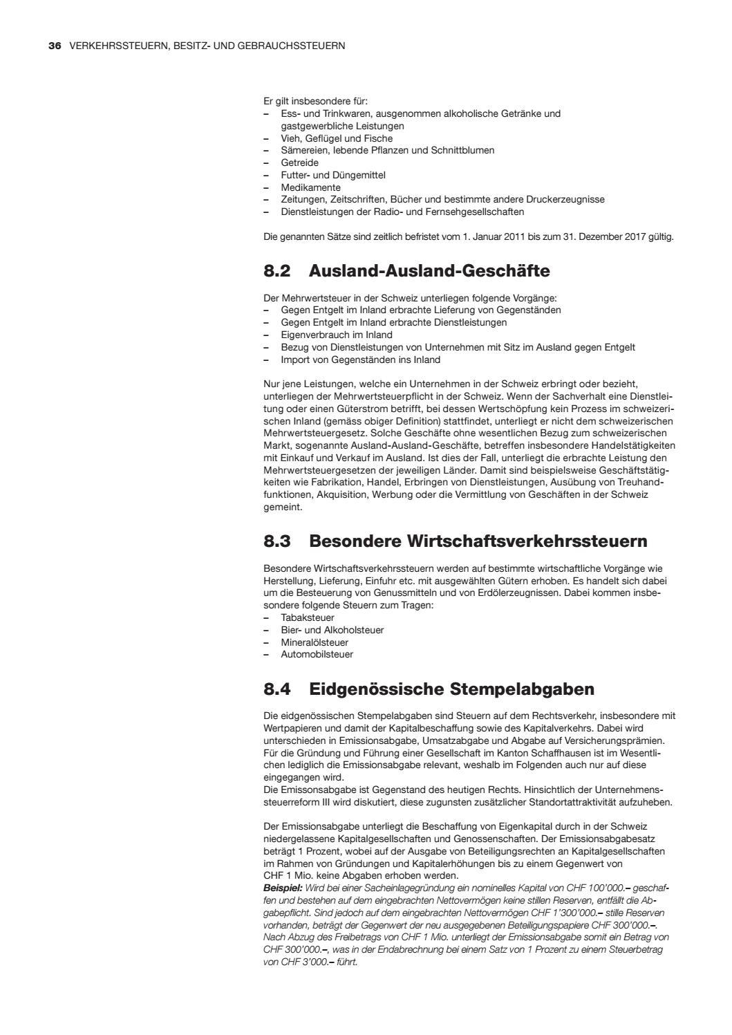 Tax guide schaffhausen 2016 attraktive steuern fuer juristische und ...