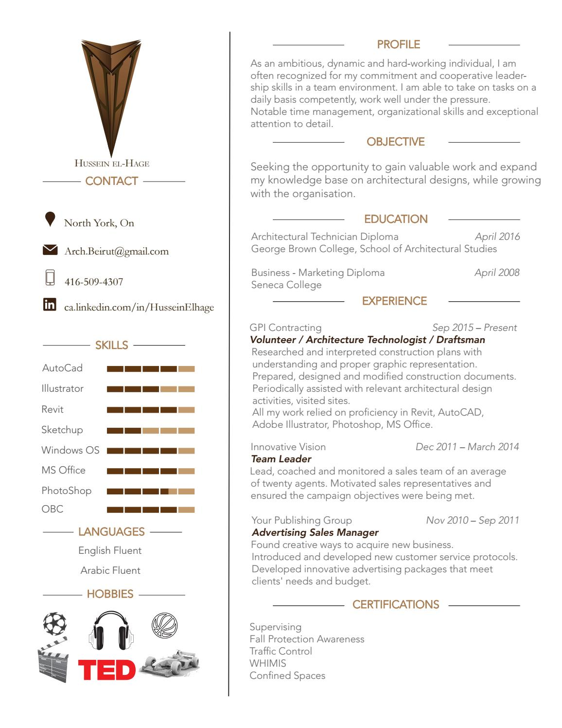 architectural technologist resume by hussein el-hage