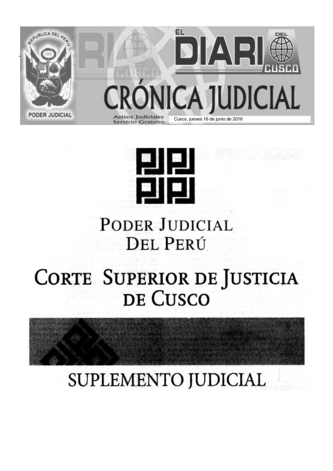 Judiciales 16 6 16 by El Diario del Cusco - issuu