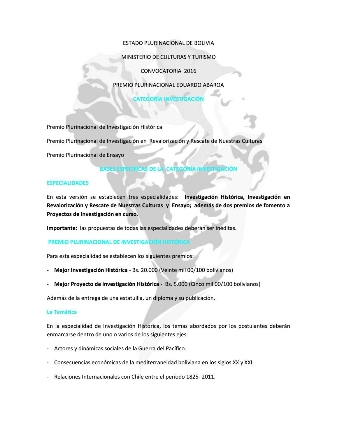 Convocatoria 2016 - Investigacion by Premio Eduardo Abaroa - issuu
