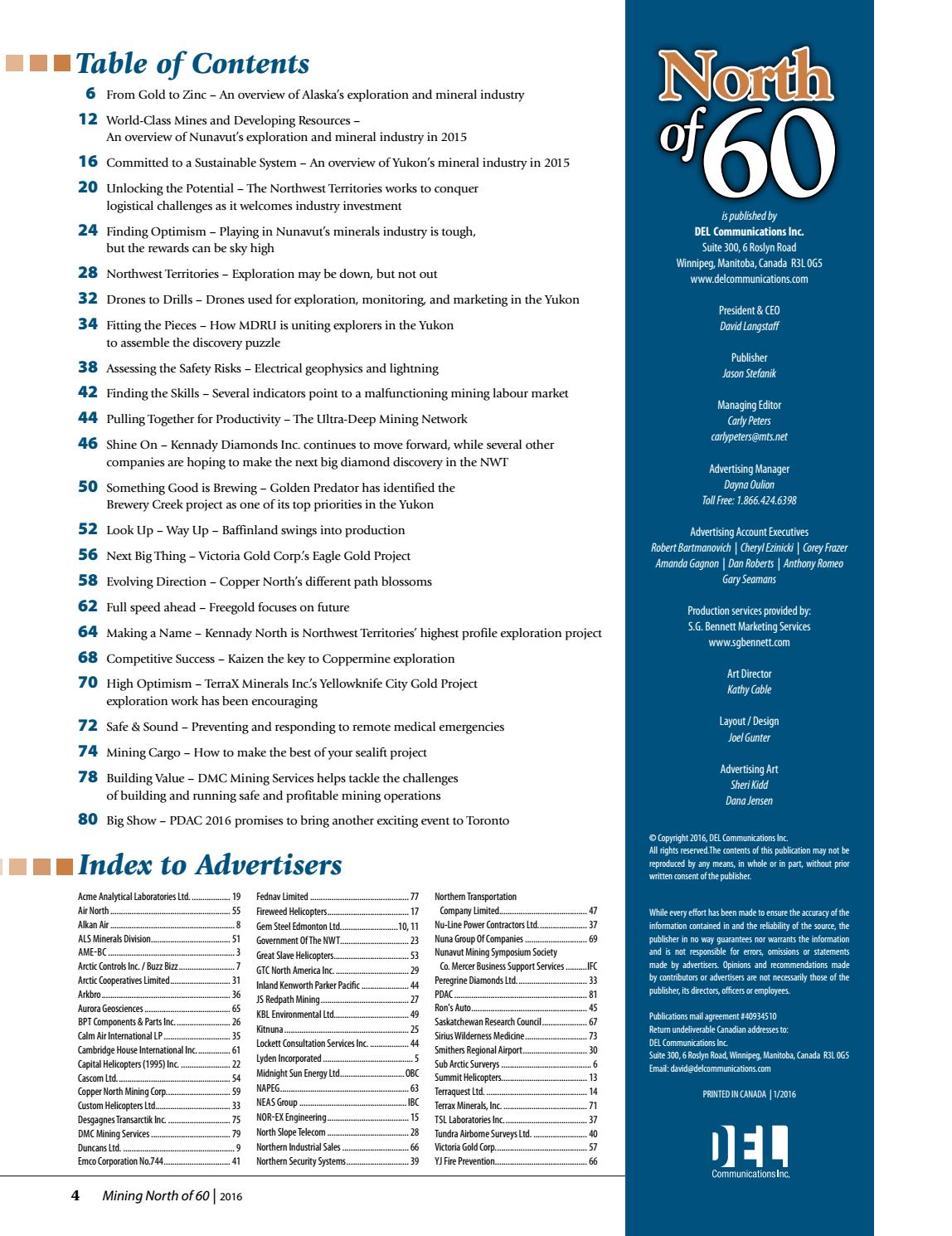 North of 60 Mining and Exploration Review 2016 by DEL Communications
