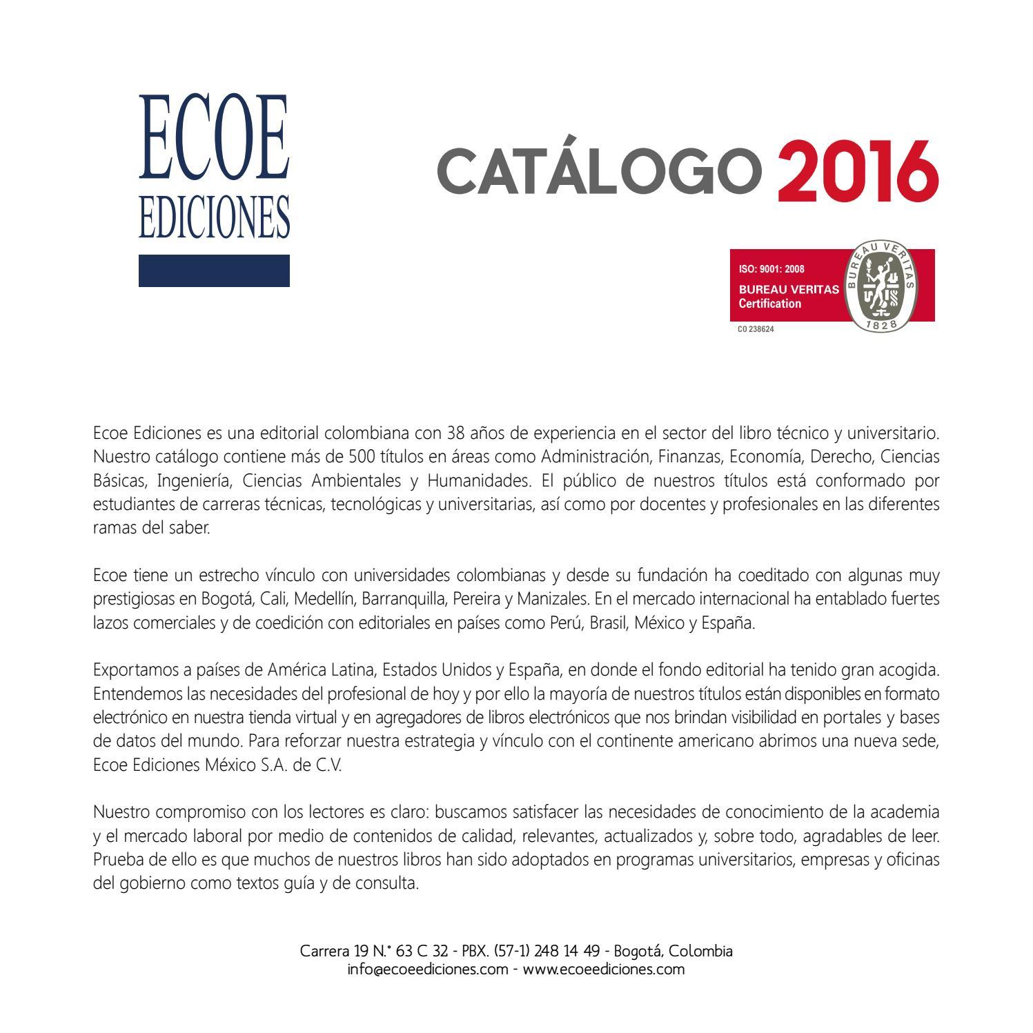 Catálogo 2016 ecoe ediciones by Editorial Ecoe Ediciones - http ...