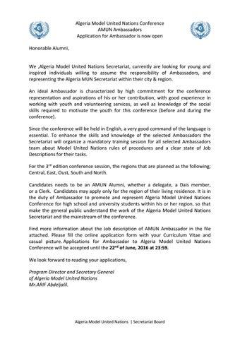 Algeria MUN Ambassador concept note 2016 by AMUN - issuu