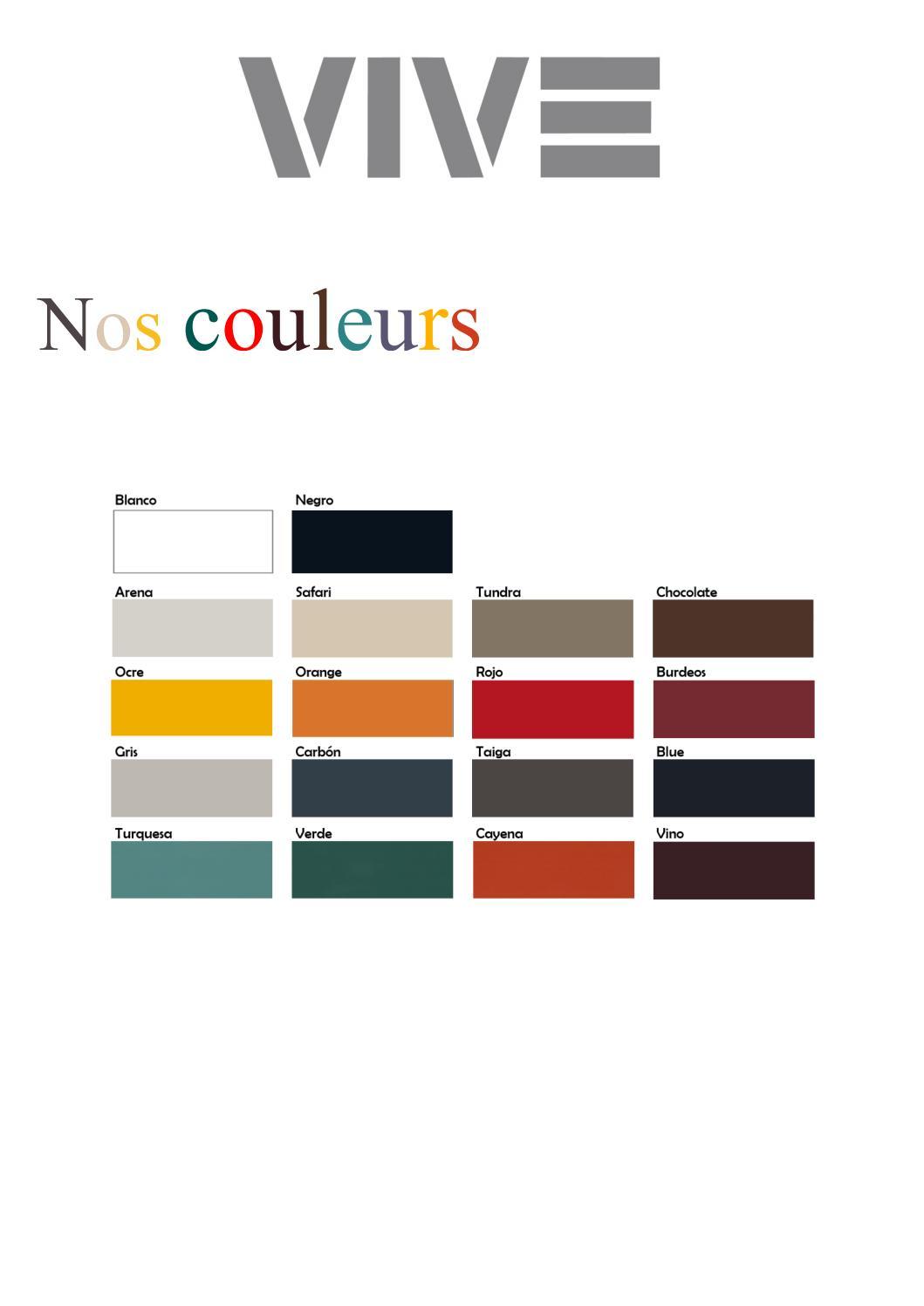 VIVE - Présentation de nos couleurs