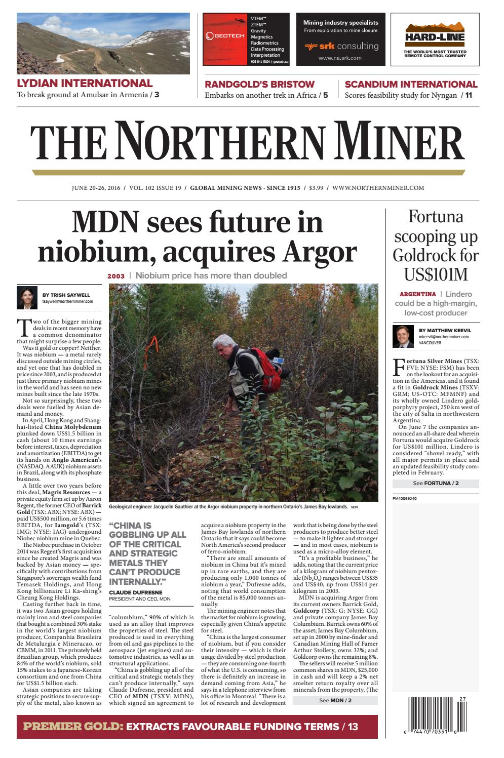187 Niocorp Drilling Update >> The Northern Miner June 20 2016 Issue 19 By The Northern Miner Group