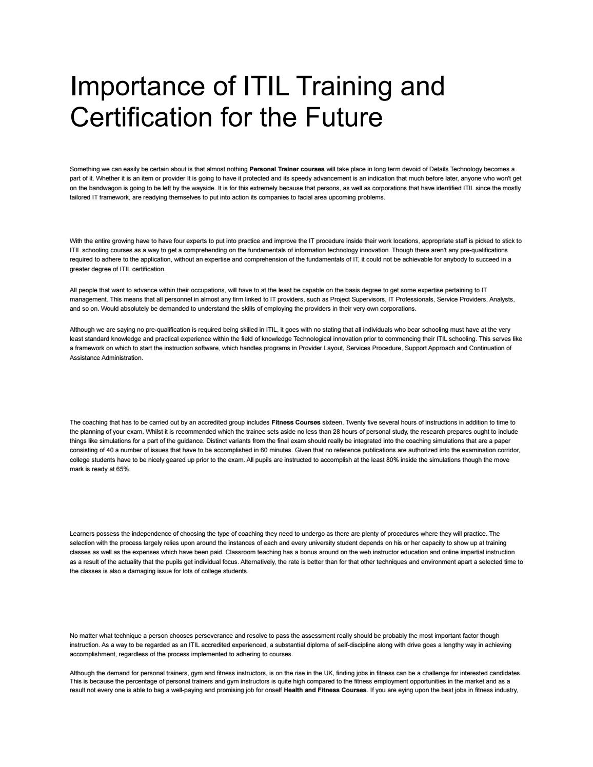 Importance of itil training and certification for the future by importance of itil training and certification for the future by personal training qualifications issuu 1betcityfo Images