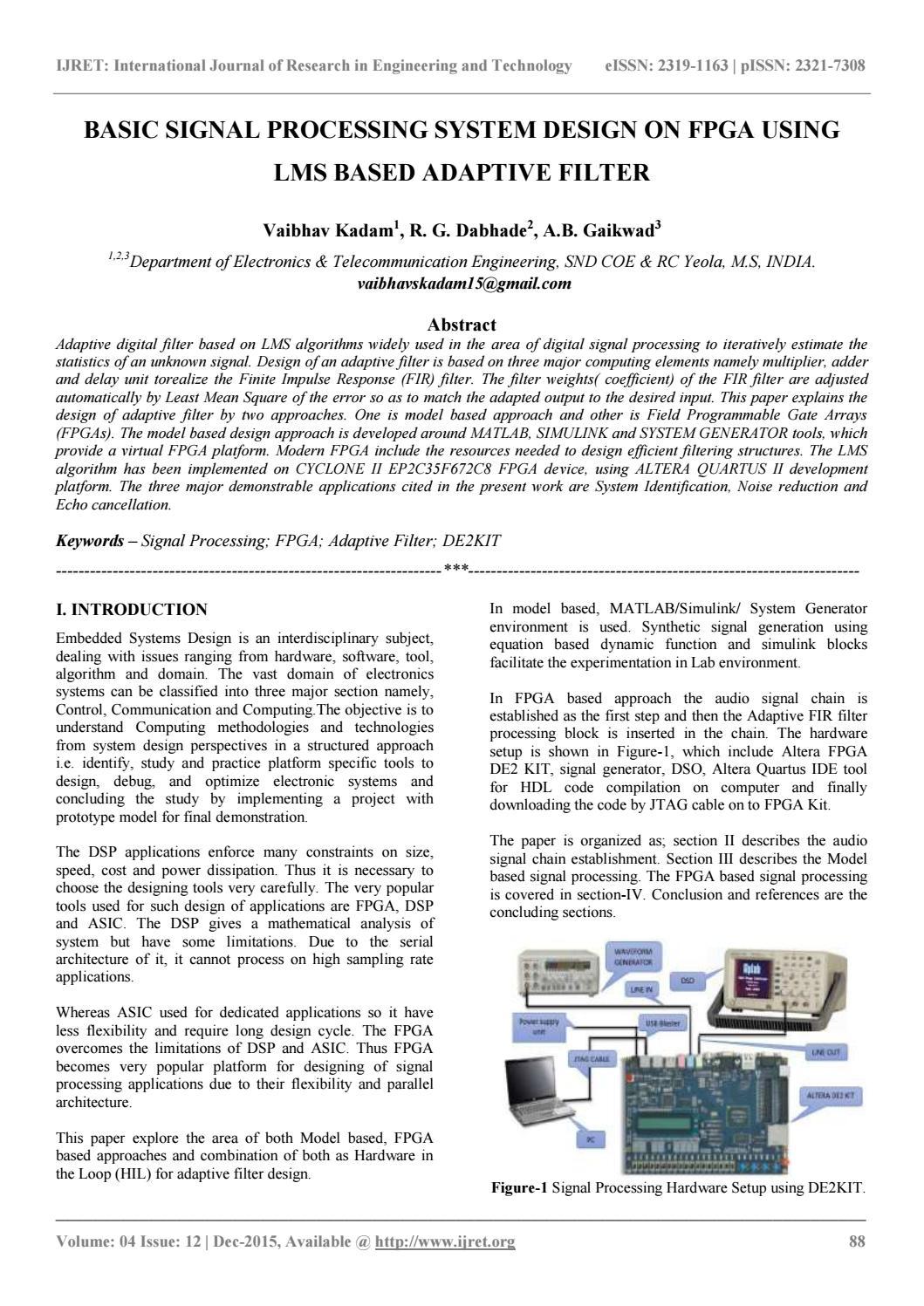 Basic signal processing system design on fpga using lms based adaptive  filter