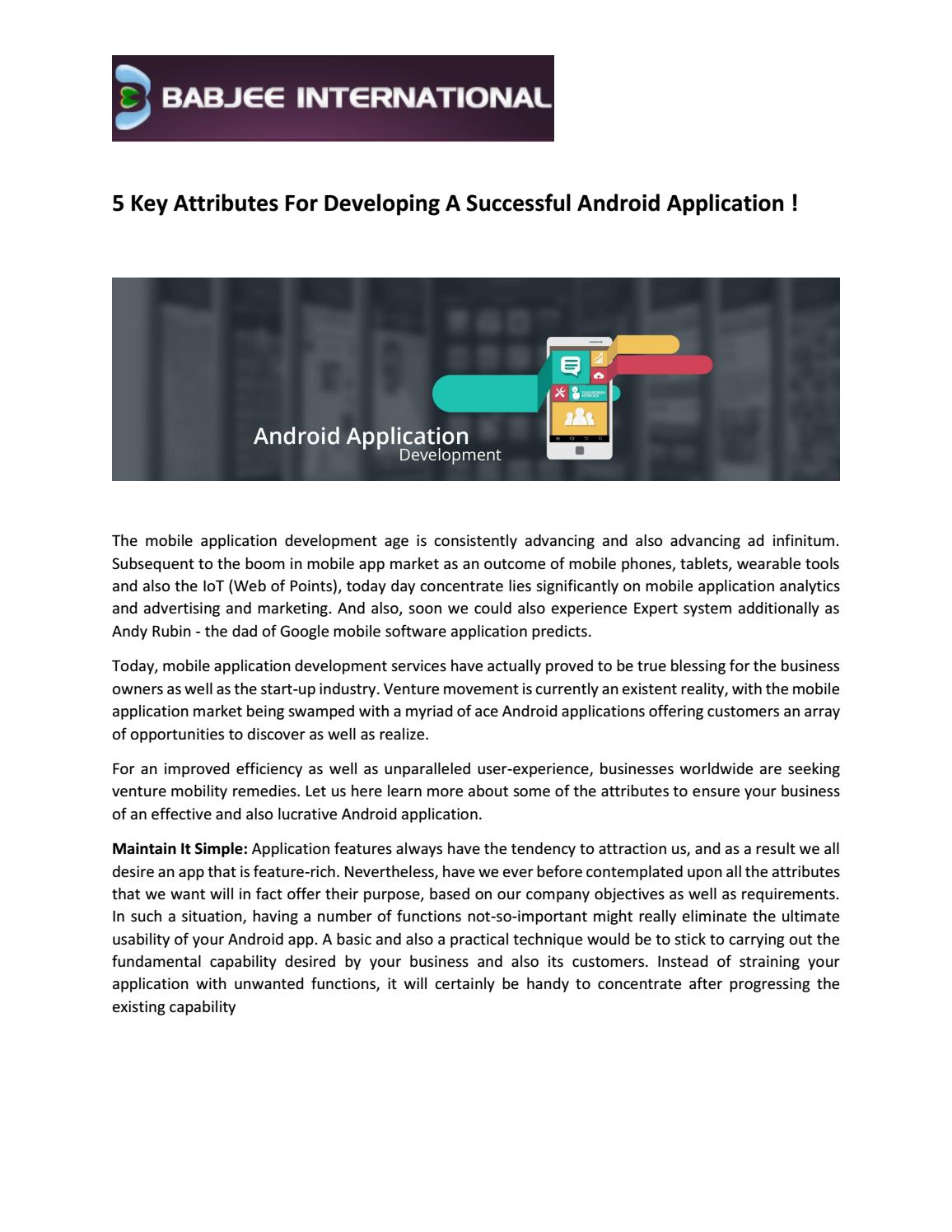 5 Key Attributes For Developing A Successful Android
