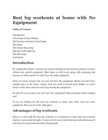 Best Leg Workouts At Home With No Equipment Table Of Content Introduction Advantages The To Do Squat