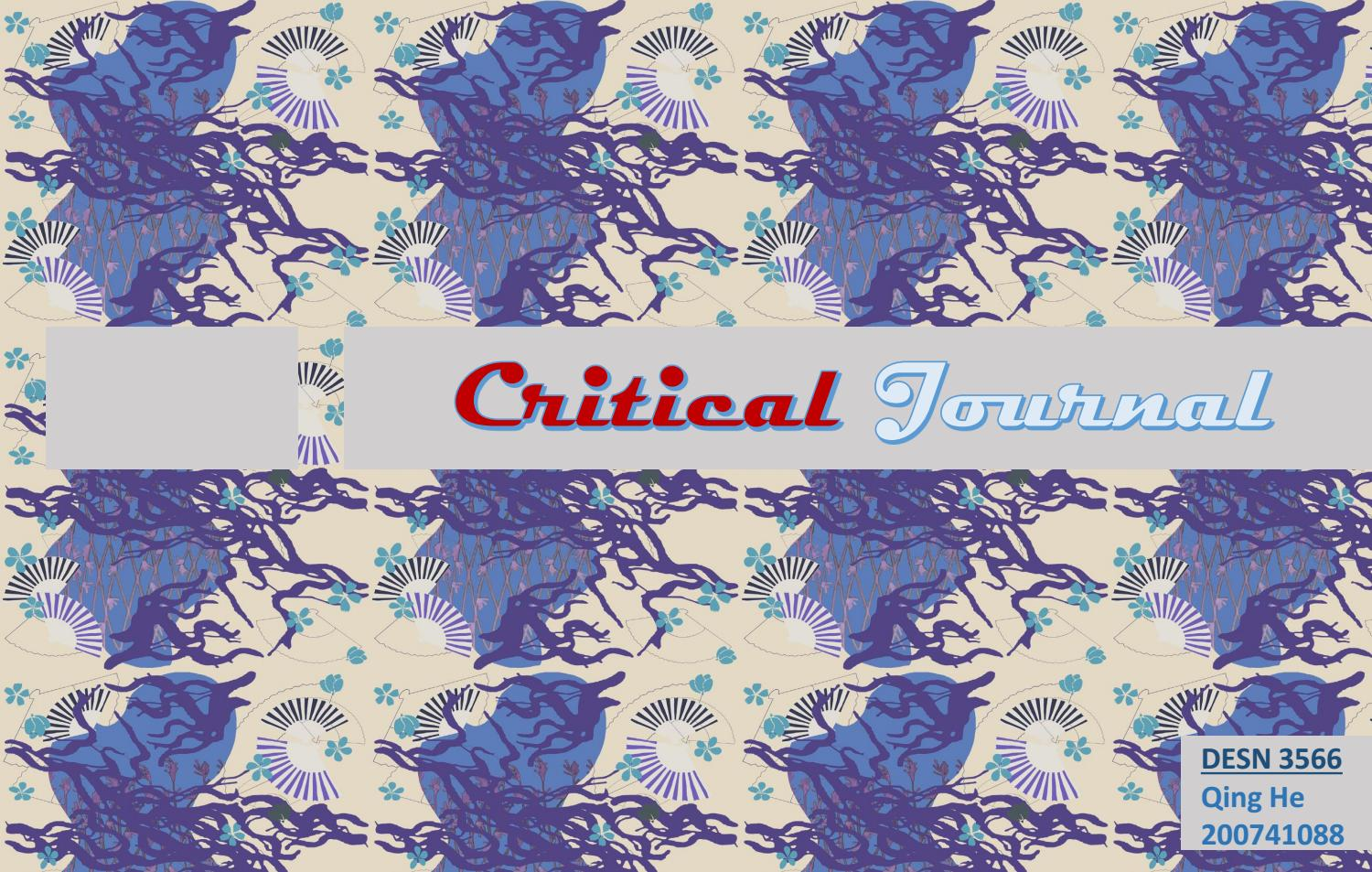 critical journal (3rd year  Project Two) by Qing He - issuu