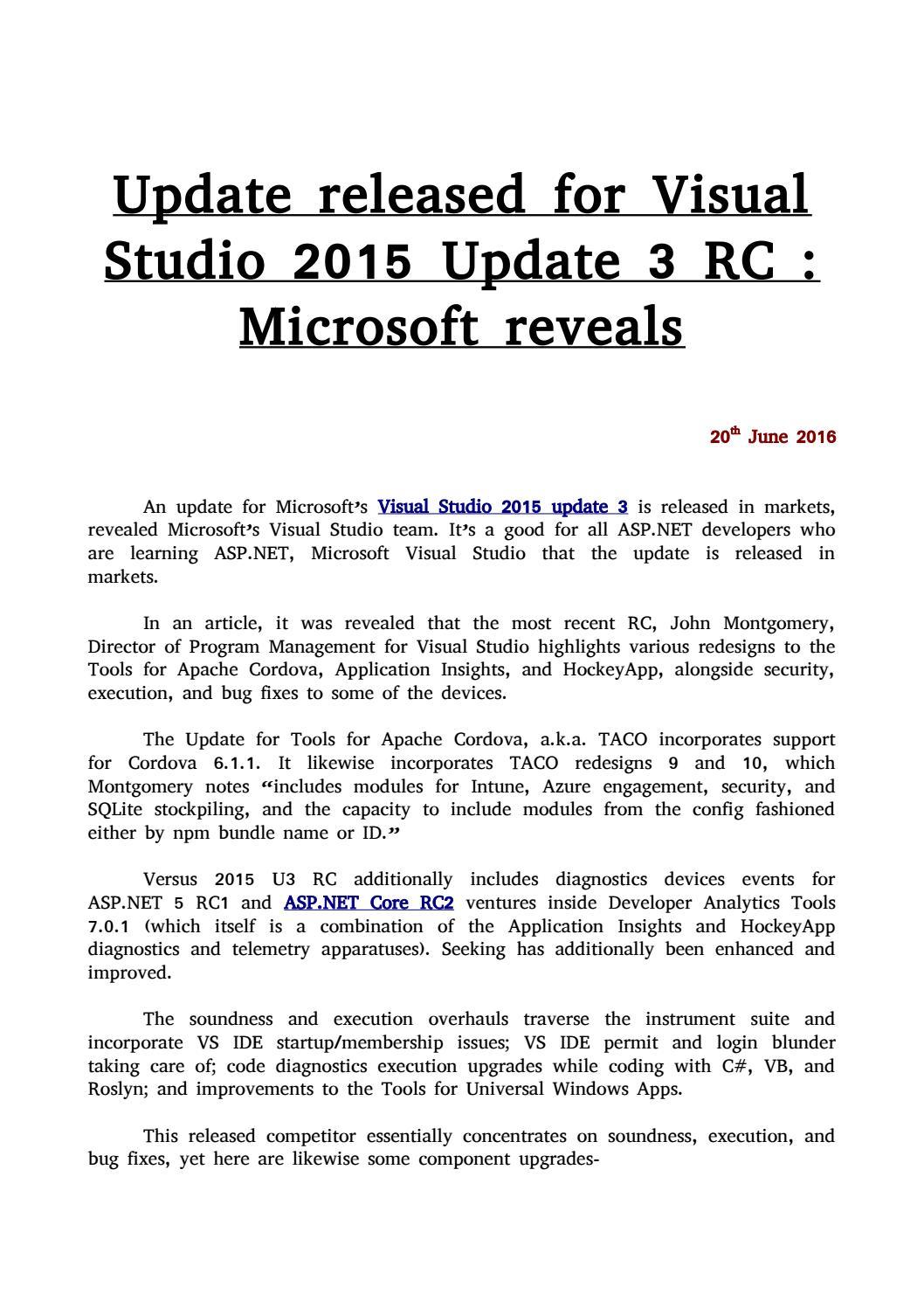 Update released for Visual Studio 2015 Update 3 RC
