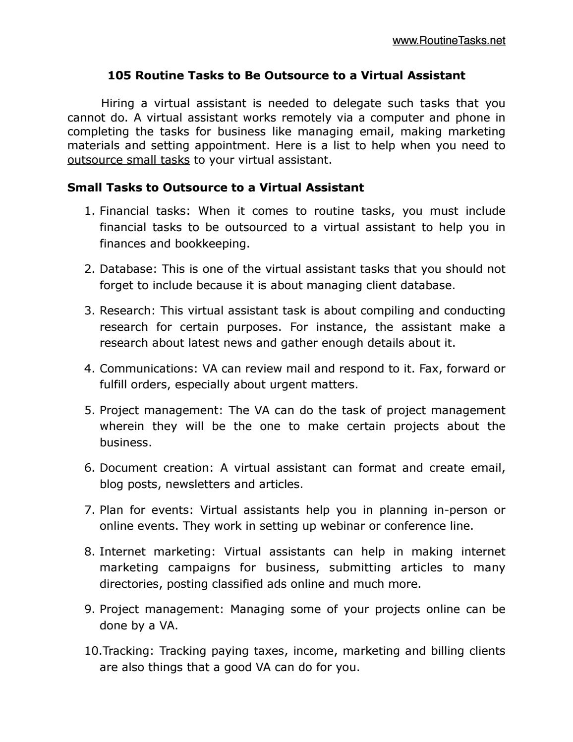 105 routine tasks to be outsource to a virtual assistant by routine 105 routine tasks to be outsource to a virtual assistant by routine task issuu flashek Gallery