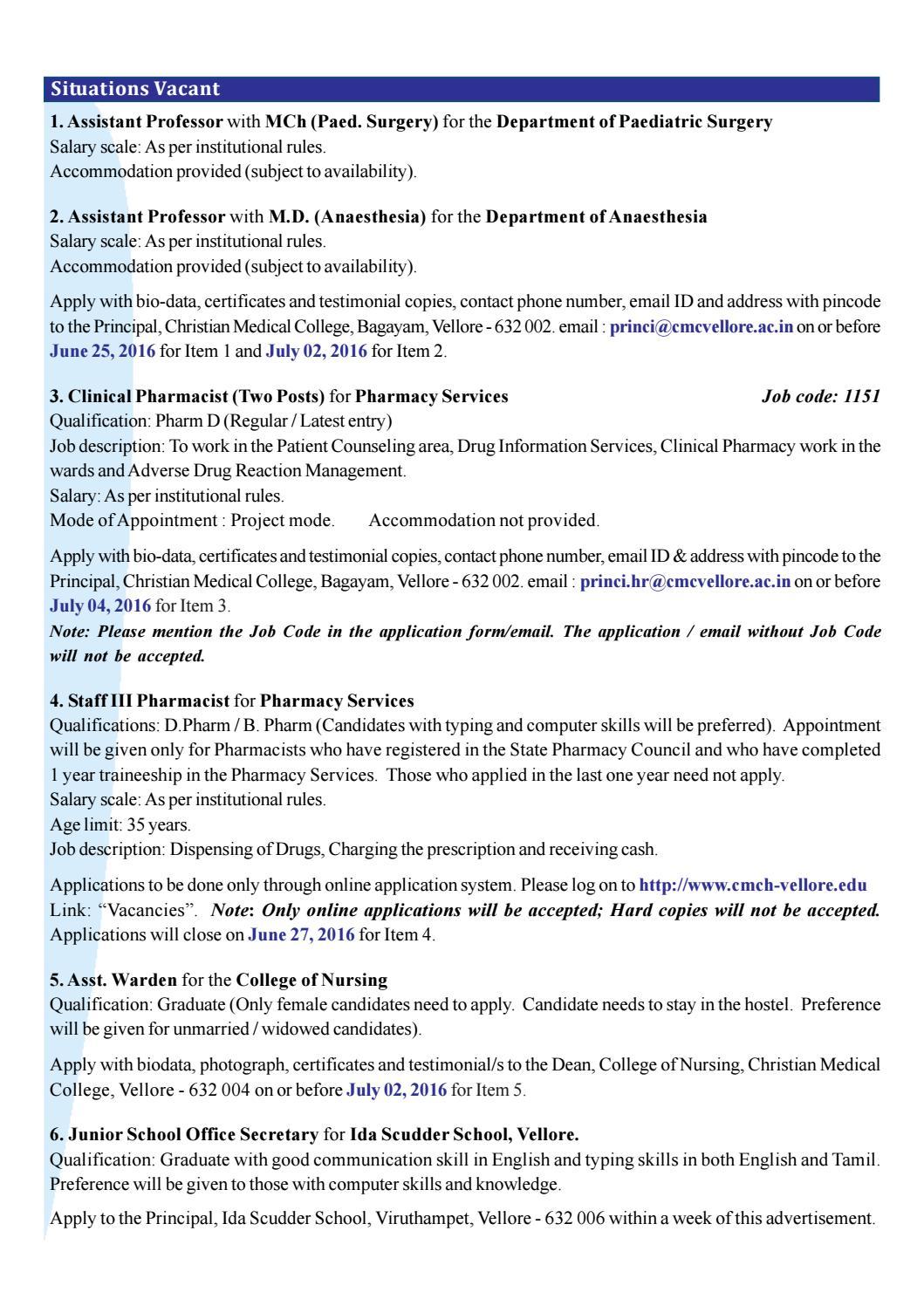 cmc-newsline-20-jun-2016-vol-no-53-no-51 by Vellore CMC Foundation