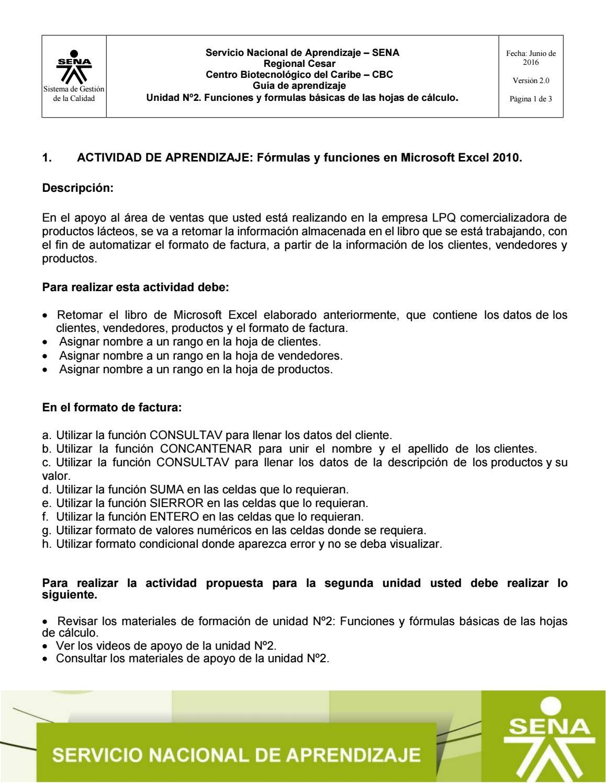 Guia de aprendizaje unidad 20   Microsoft Excel 20010 by waldrik ...