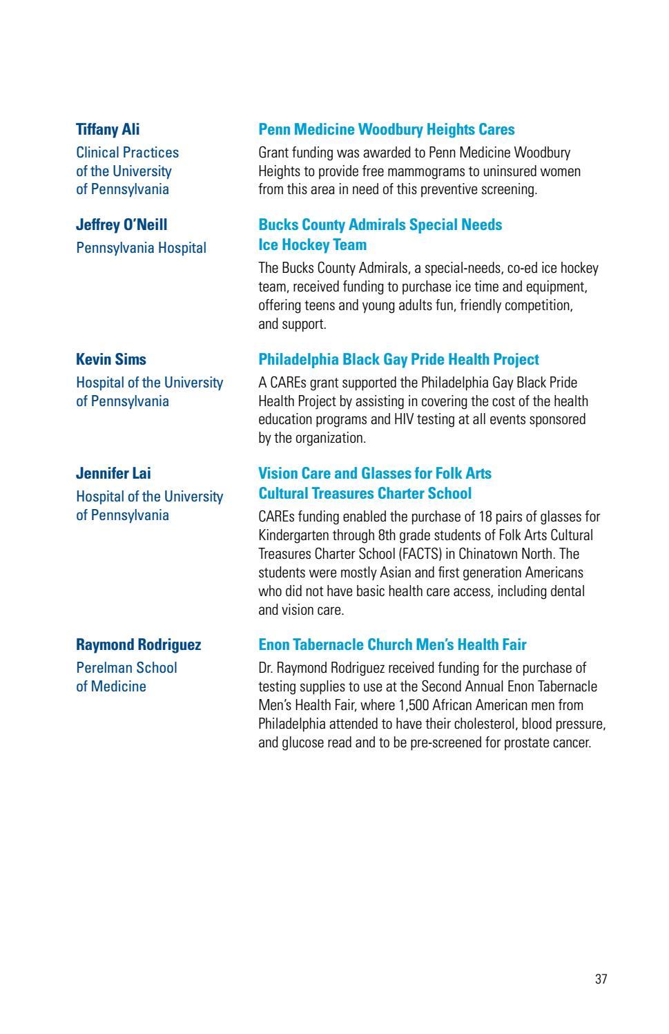 Penn Medicine CAREs | Grant Recipients 2012-2015