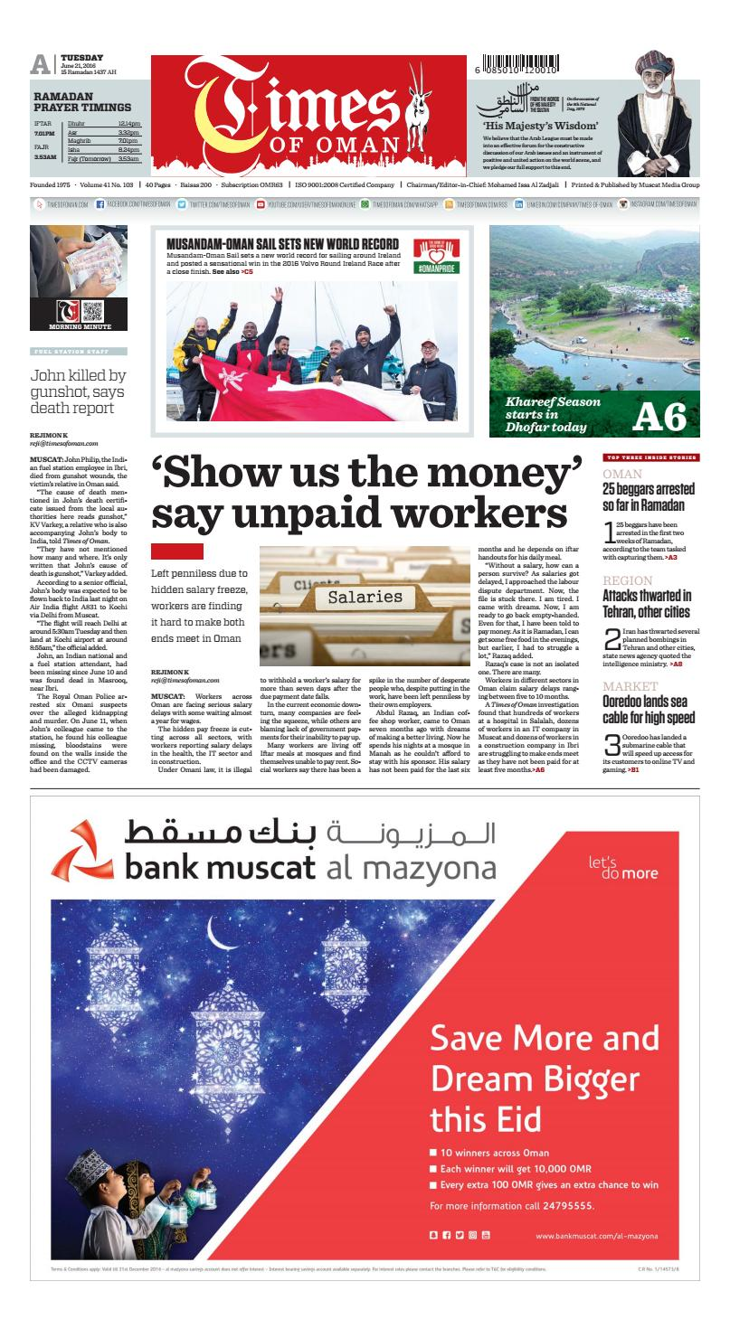 Times of Oman - June 21, 2016 by Muscat Media Group - issuu