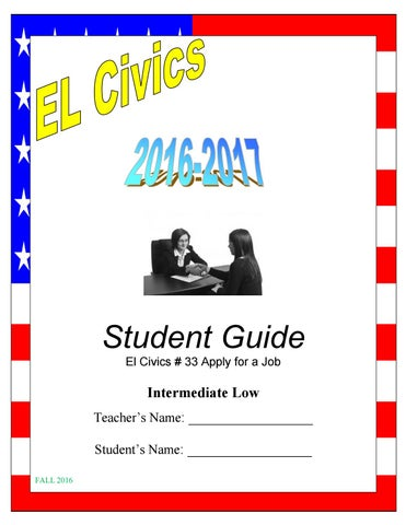 EL Civics  33 Intermediate Low - Student Guide - Fall 2016 8e2dcf3498b